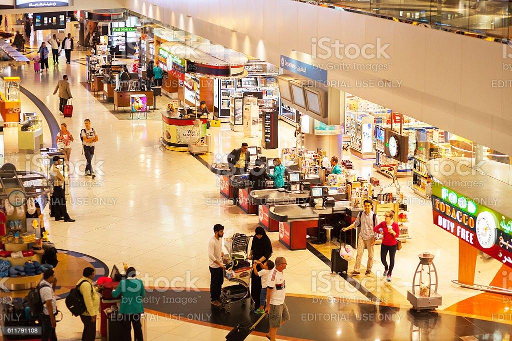 View down into duty free corridor stock photo