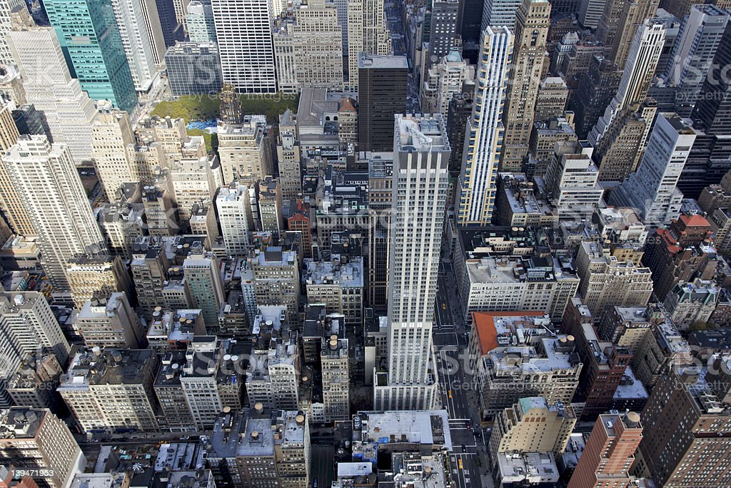 View Down into Midtown Manhattan royalty-free stock photo