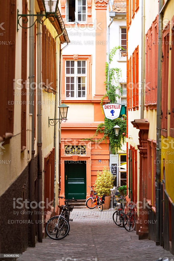 View down Küchengässchen in Heidelberg stock photo