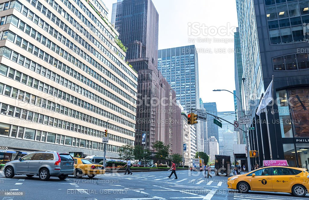 View down Park Avenue in New York stock photo