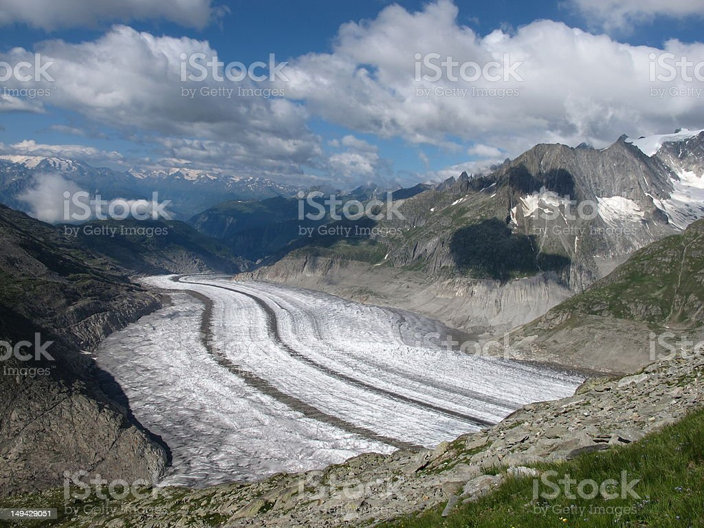 View down the Aletsch valley royalty-free stock photo