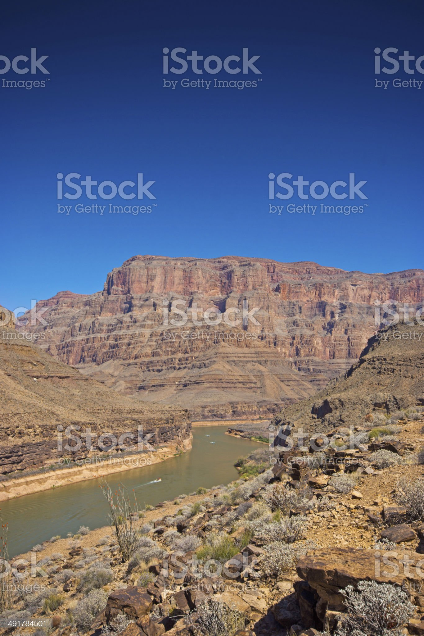 View down the Grand canyon towards Lake Mead royalty-free stock photo