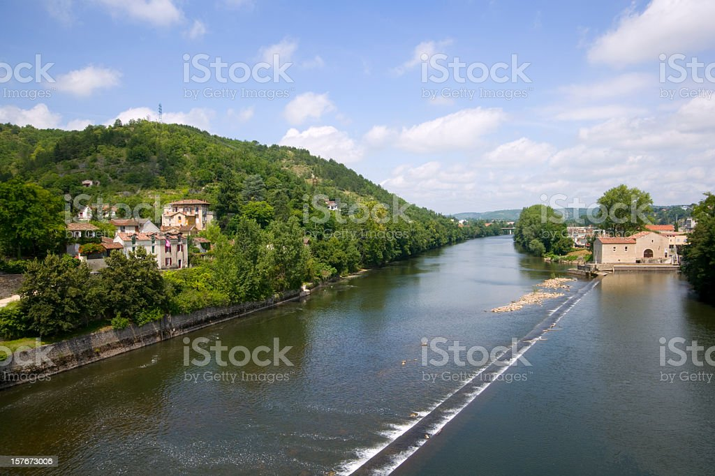 View down the River Lot from Pont Valentre, Cahors, France stock photo