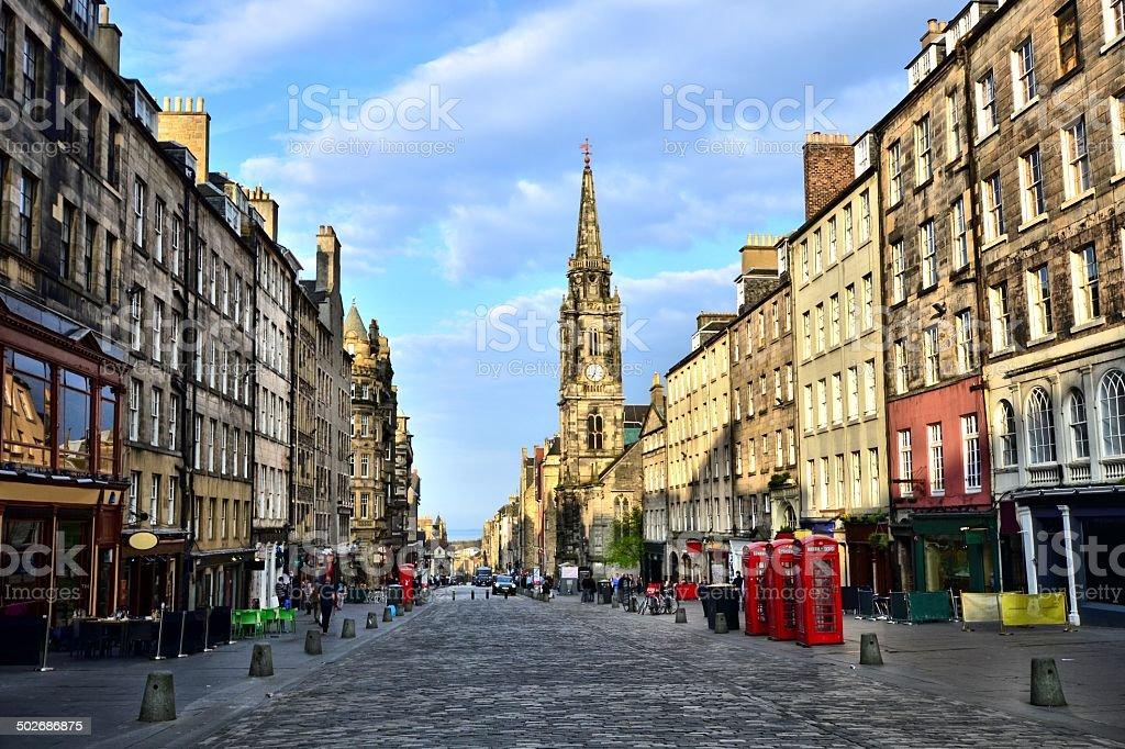 View down the Royal Mile, Edinburgh, Scotland stock photo