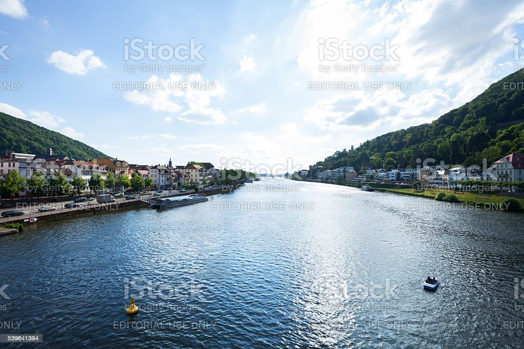 View downstream Neckar at summer afternoon stock photo