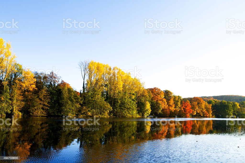 View downstream Ruhr at indian summer stock photo