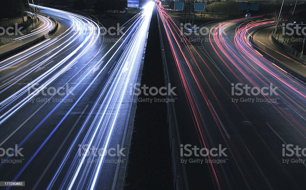 View dusk urban night traffic on the highway royalty-free stock photo