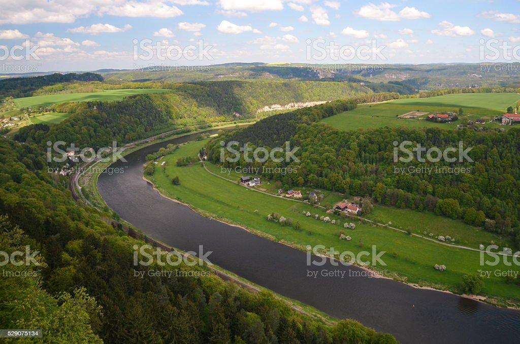 view elbe saxony germany koenigstein river moutain stock photo