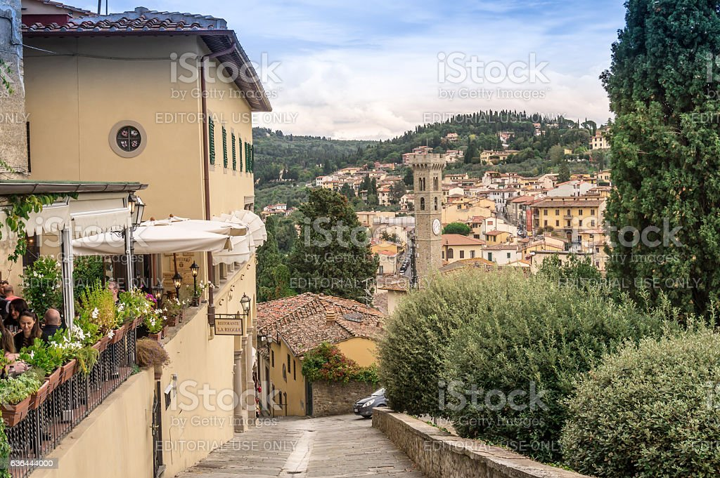 View Fiesole town center with cathedral tower in the background stock photo