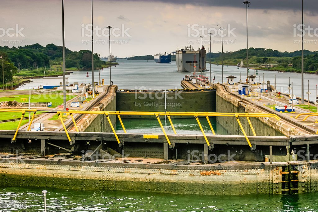 View form the bridge of a ship in the Panama Canal stock photo