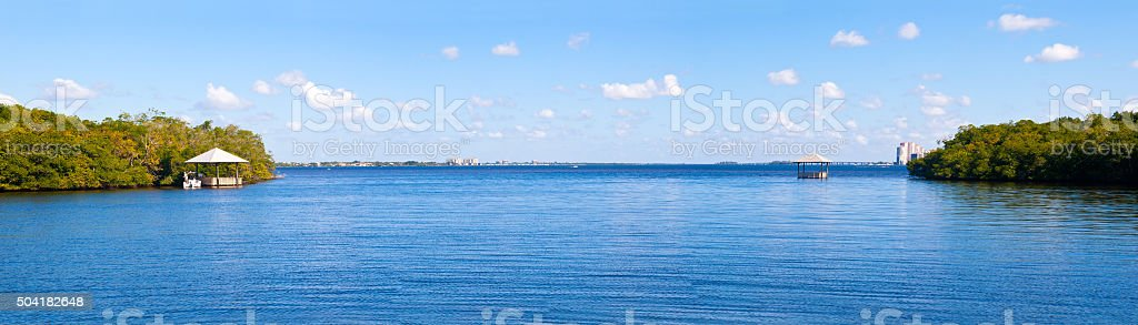 View from a Bay at the Caloosahatchee River stock photo