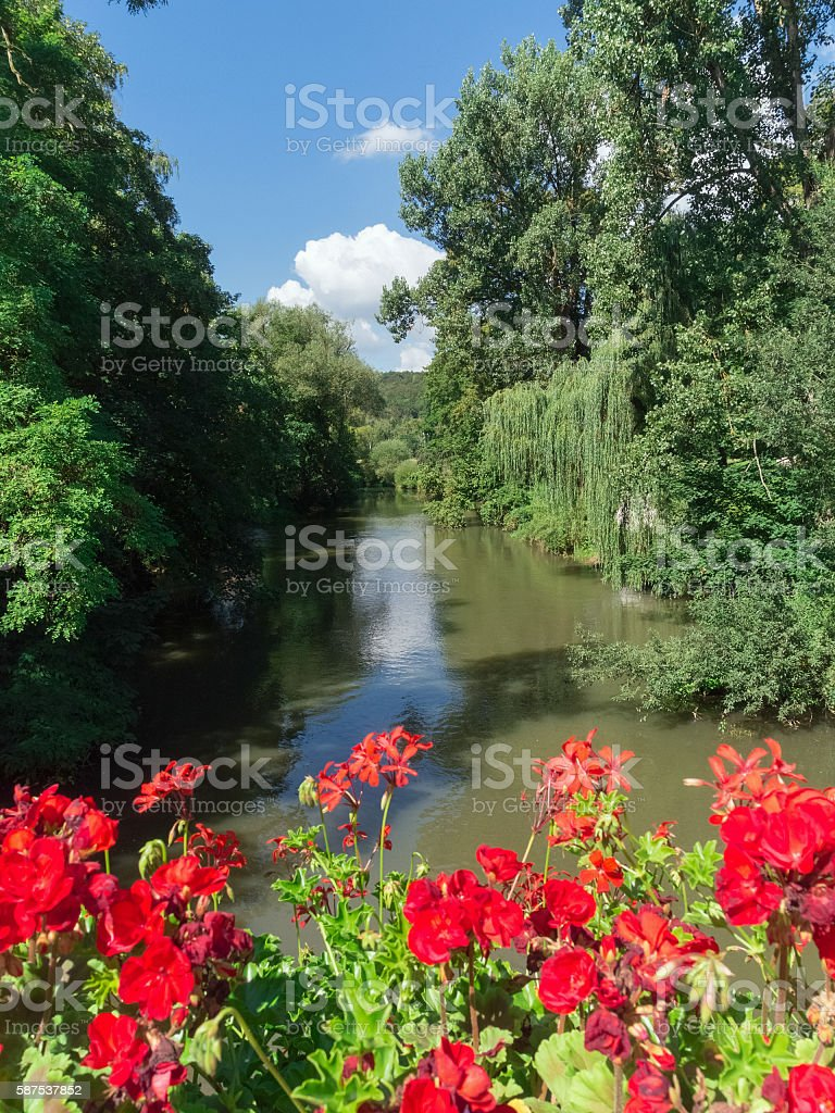 View from a bridge onto the river Altmühl in Pappenheim stock photo