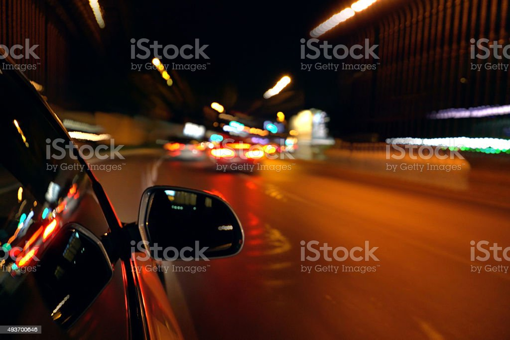 View from a car in motion,high speed. Blurred motion stock photo