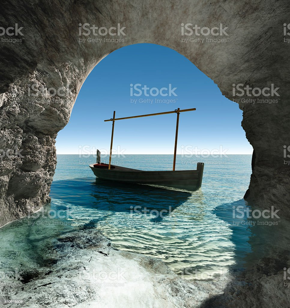 view from a cave stock photo