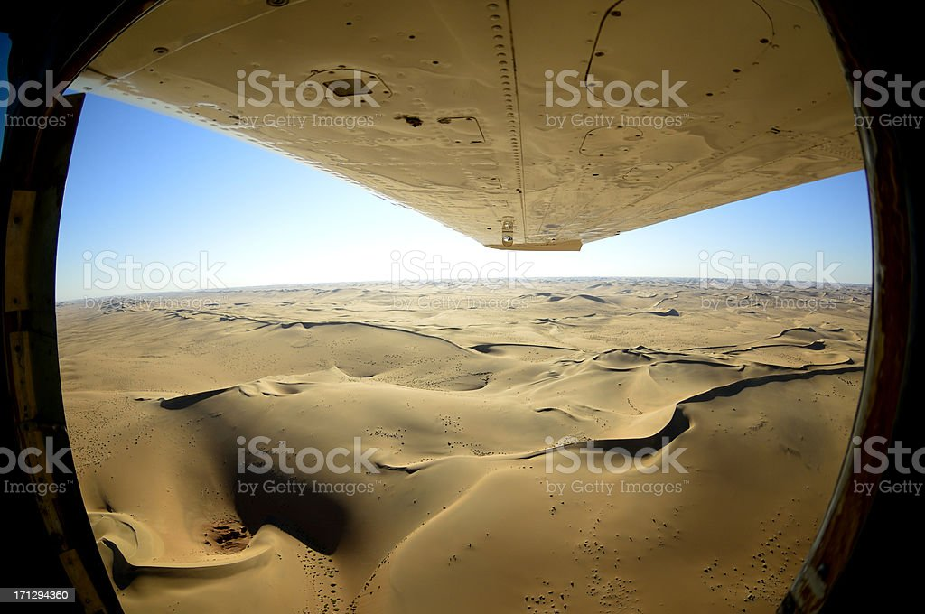 View from a cessna to the desert stock photo