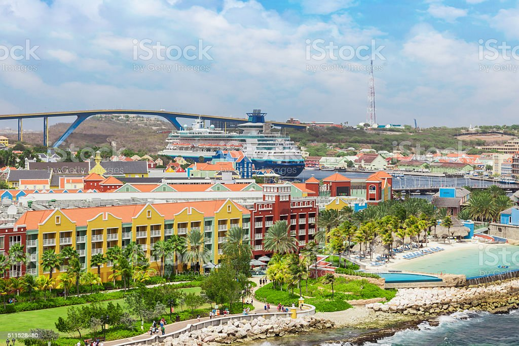 View from a cruise ship on Willemstad - Curacao stock photo