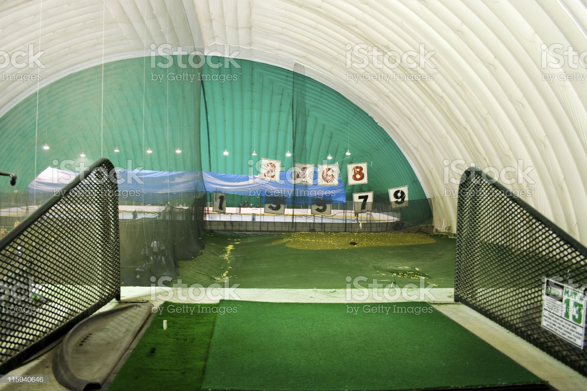 View from a driving range stall royalty-free stock photo