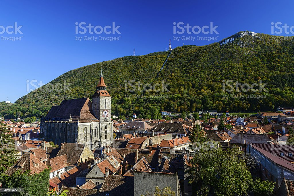A view from a hill top in Brasov in Romania stock photo