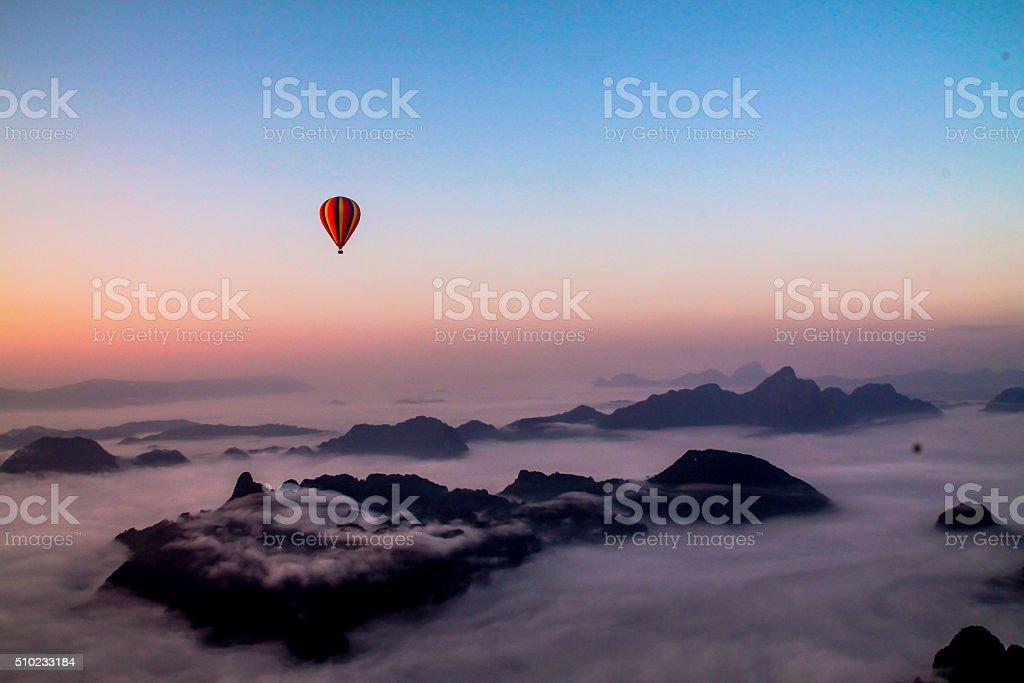 Vue à partir de la montgolfière, du Laos photo libre de droits