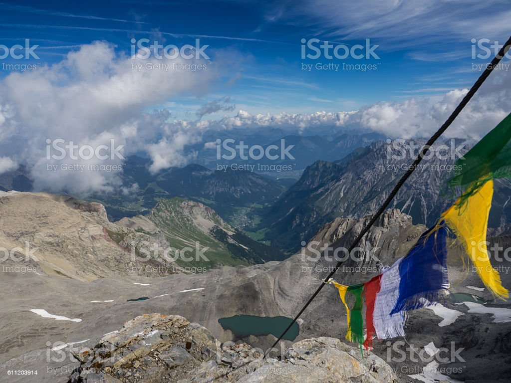 View from a mountain peak stock photo