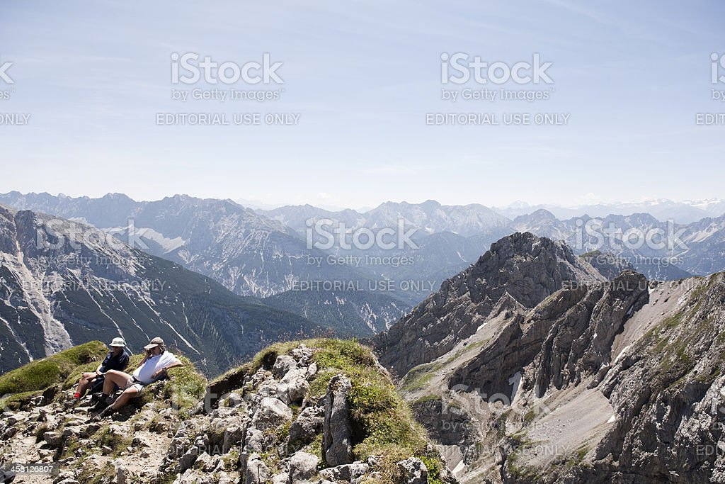 View from a mountain peak, the Karwendelspitze stock photo