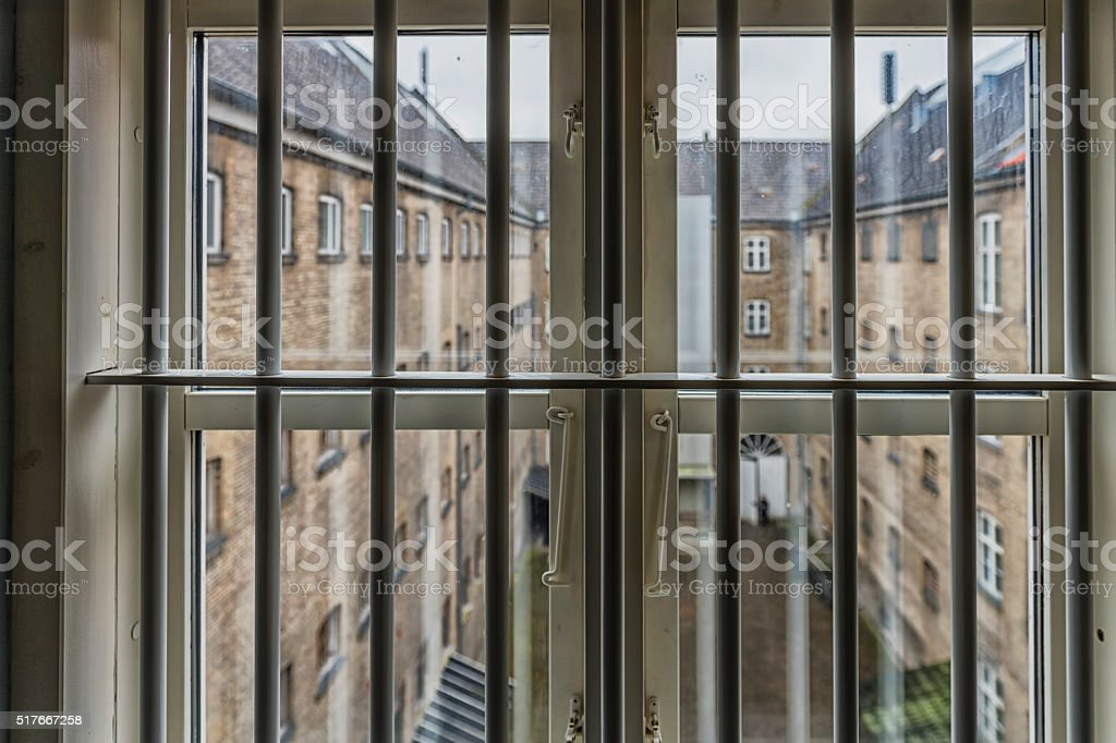 View from a prison window stock photo