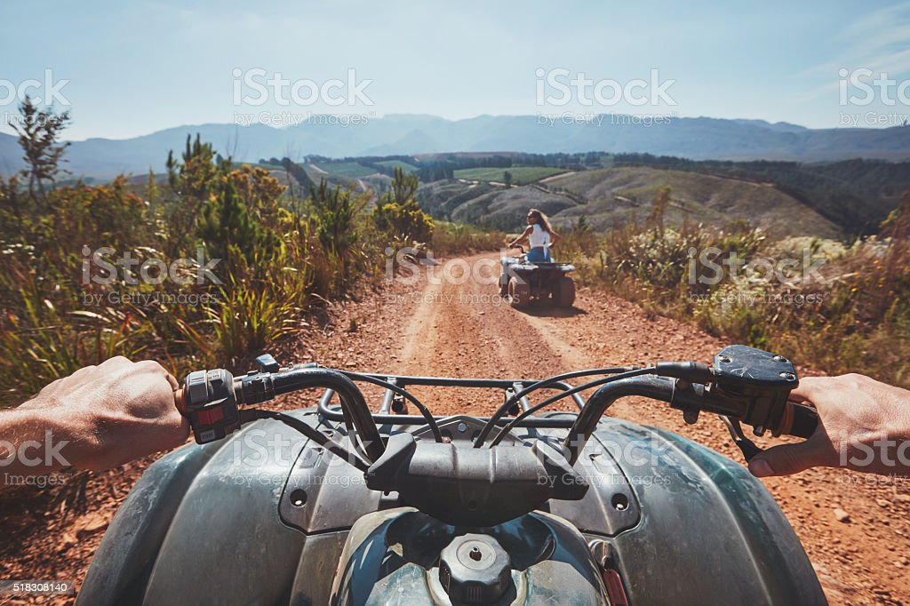 View from a quad bike in nature stock photo