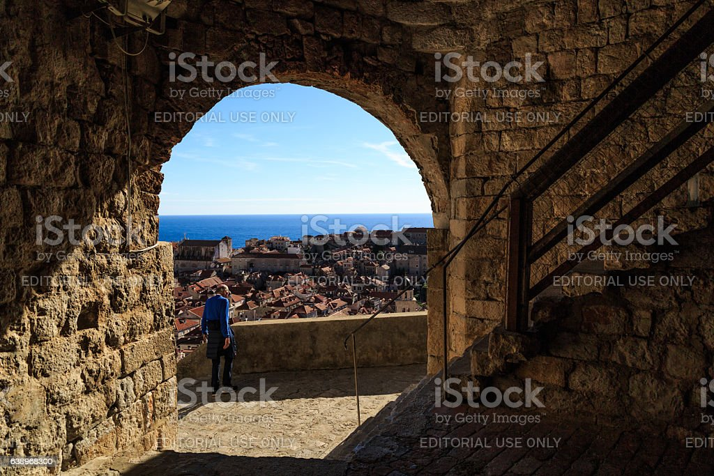 View from a tower on the Dubrovnik bailey stock photo