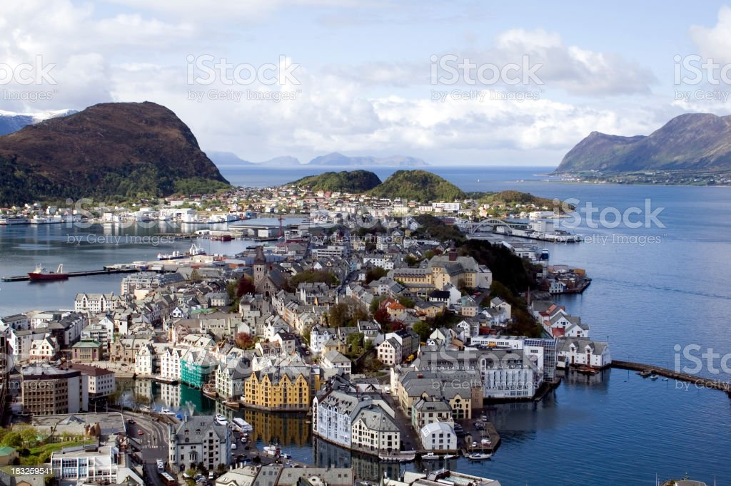 View from above of Alesund, Norway during the day stock photo