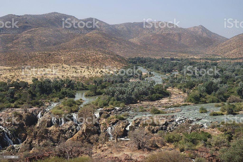 View from above of Epupa Falls in Namibia stock photo