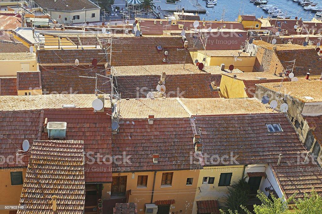 View from above of Porto Santo Stefano - Grosseto, Italy stock photo