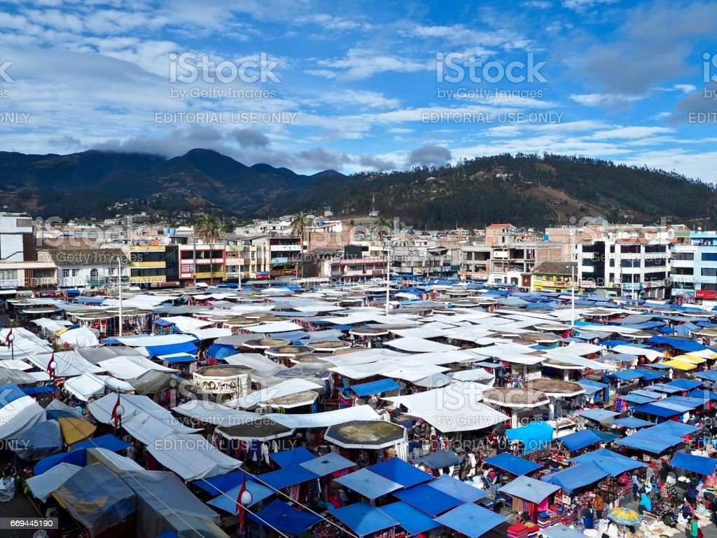 View from above of the Saturday market in Otavalo stock photo
