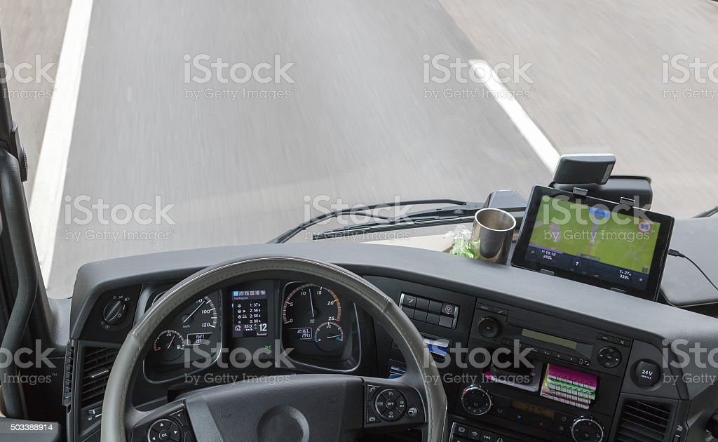 View from above on dashboard of the truck stock photo