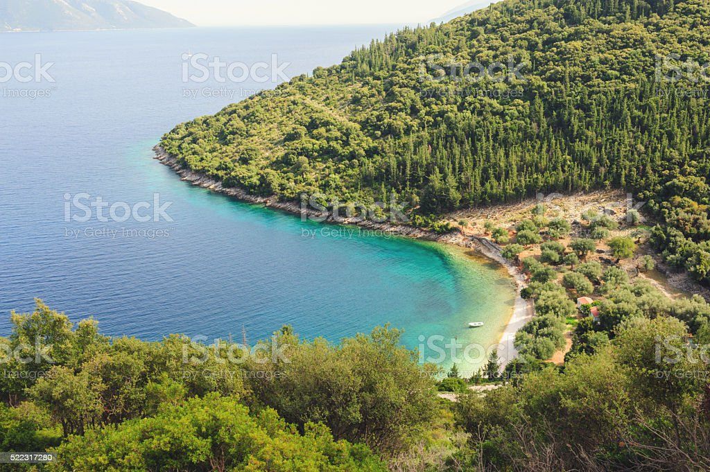 View from above on famous Horgota beach on Kefalonia stock photo