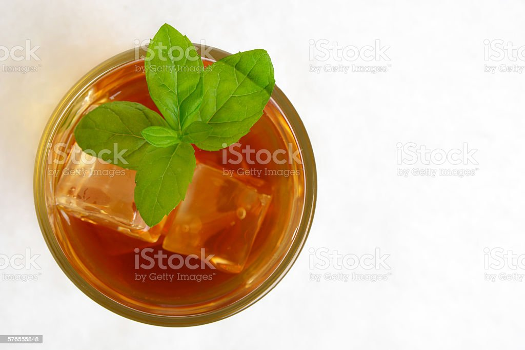 View from above on ice tea,mint on white stock photo