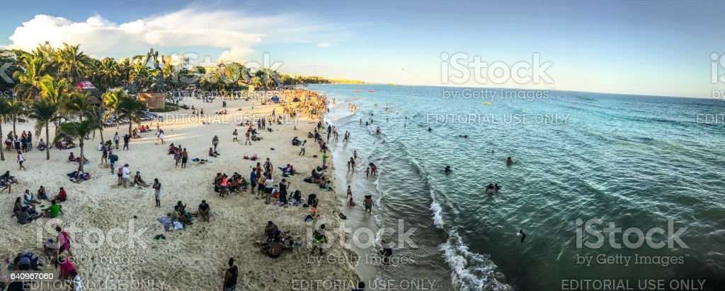 View from above on Playa Del Carmen Beach full of tourists, Mexico stock photo