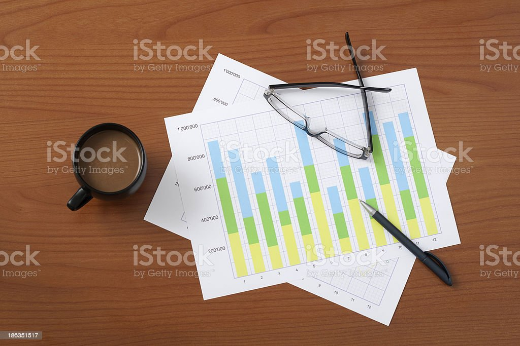 view from above on the desk royalty-free stock photo