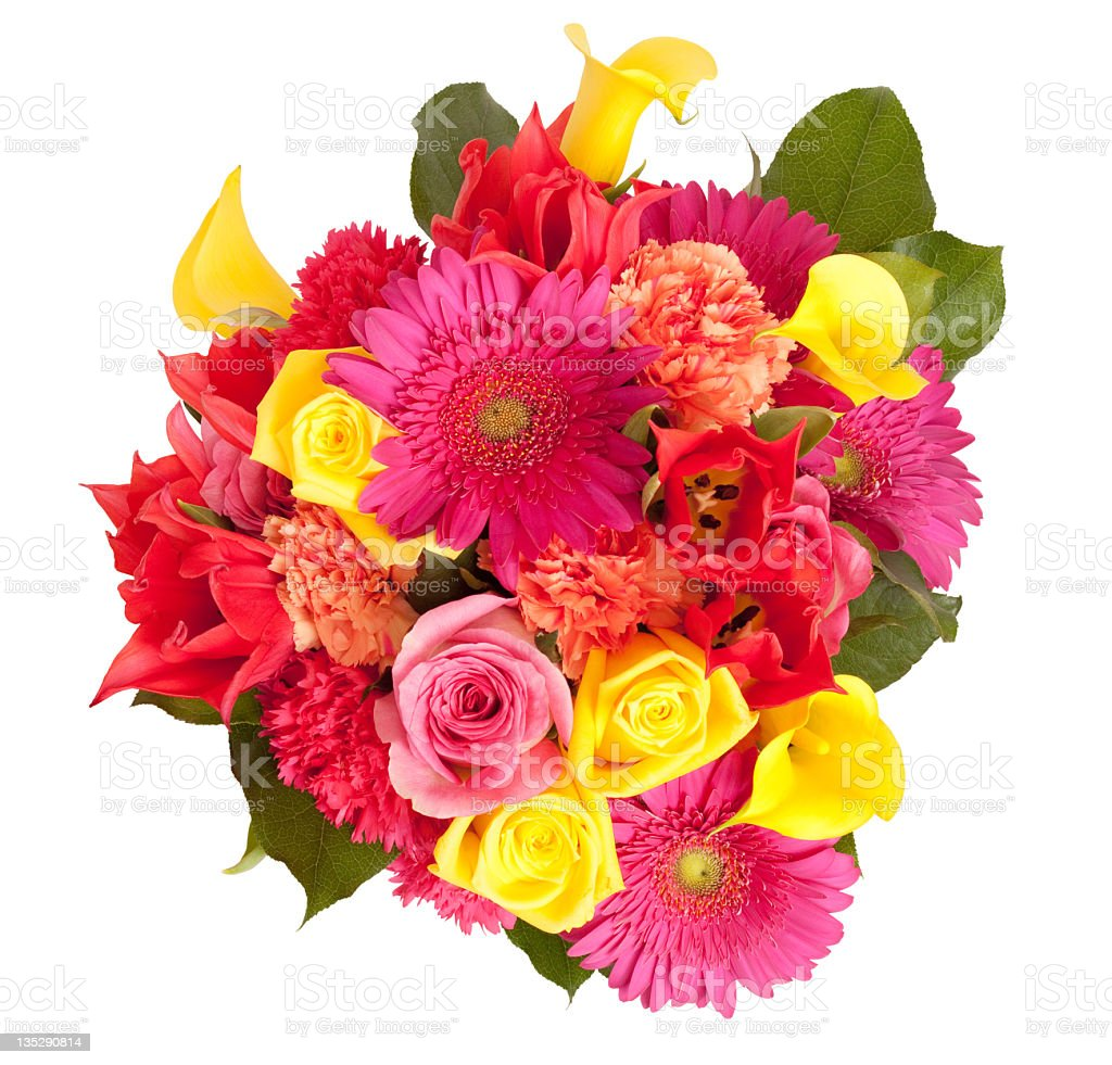 View From Above Spring Floral Bouquet Isolated Clipping Path stock photo