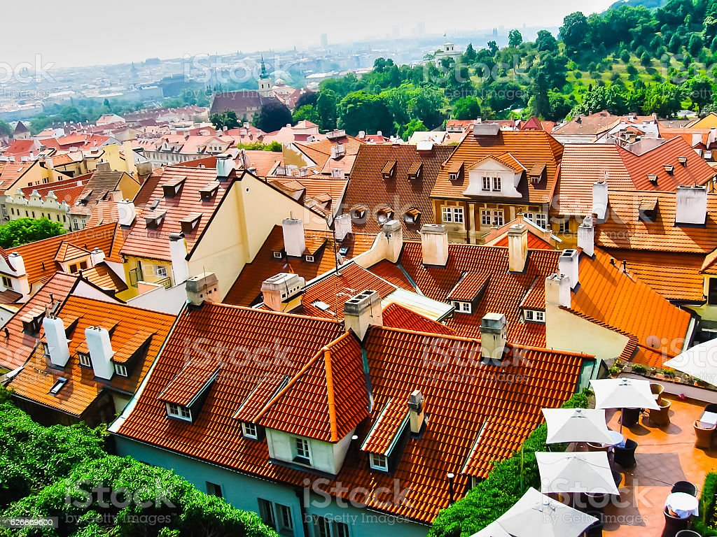 View from above to tiled roofs of old town, Prague stock photo