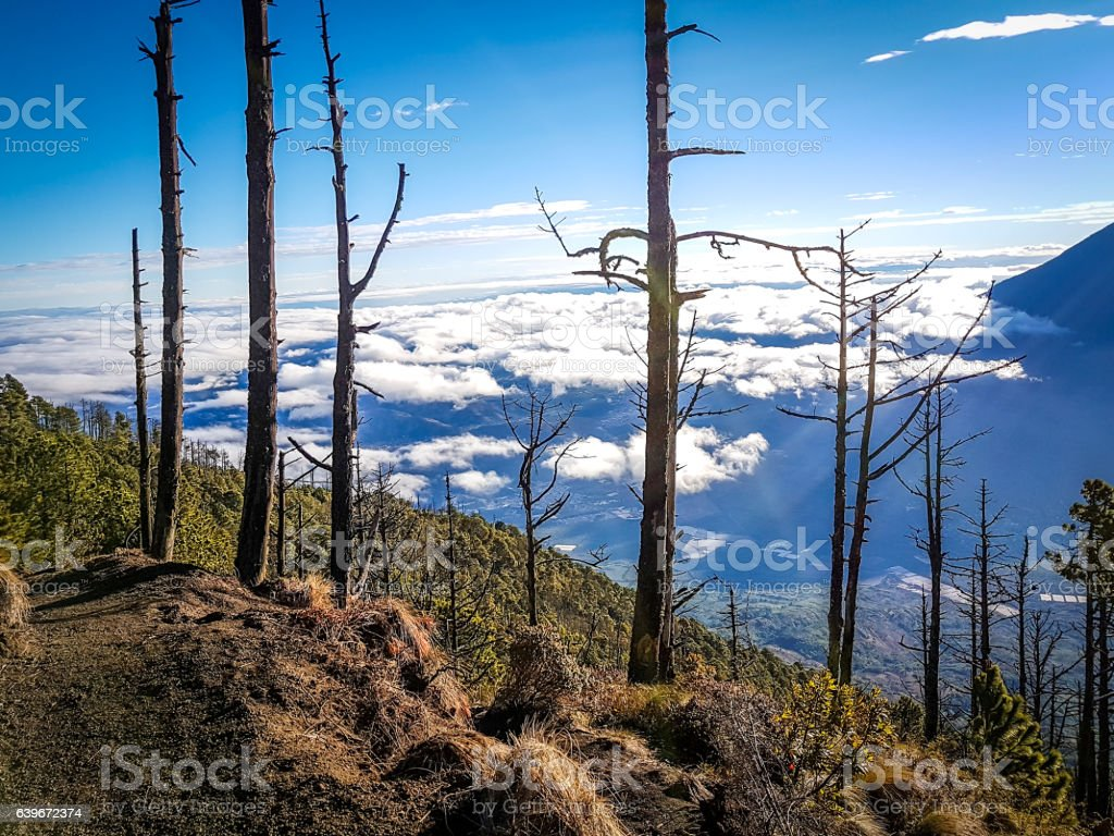 View from Acatenango volcano ,Guatemala stock photo