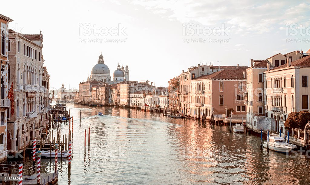 View from Accademia Bridge on Grand Canal in Venice stock photo