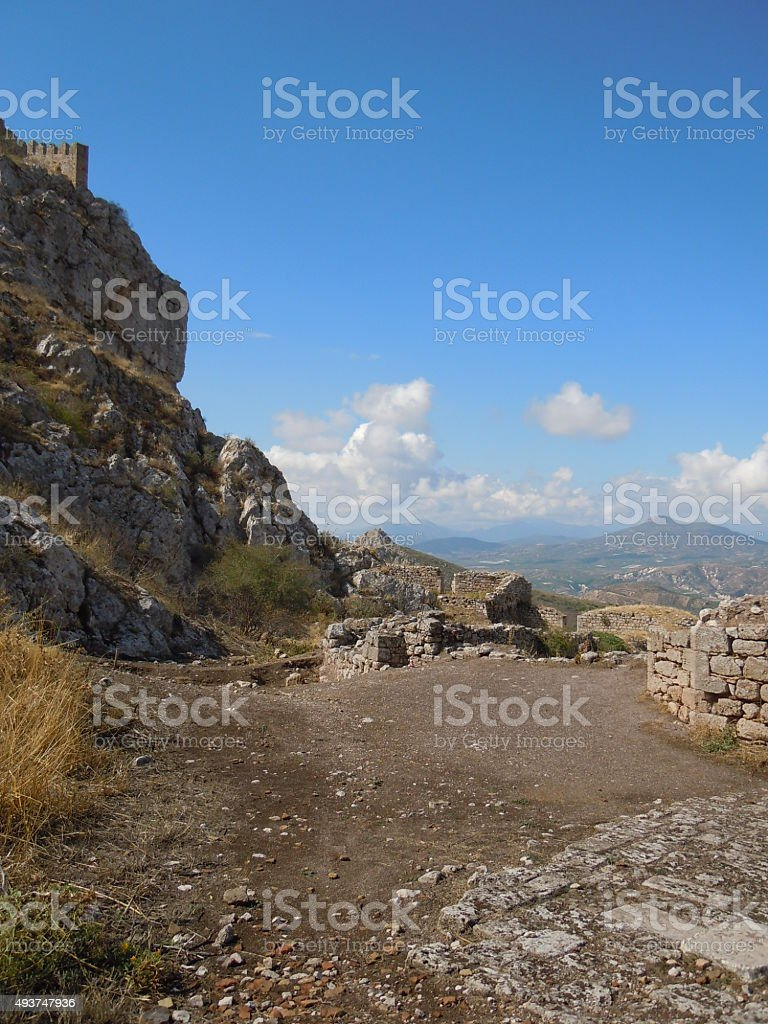 View from Acrocorinth / Akrokorinthos stock photo