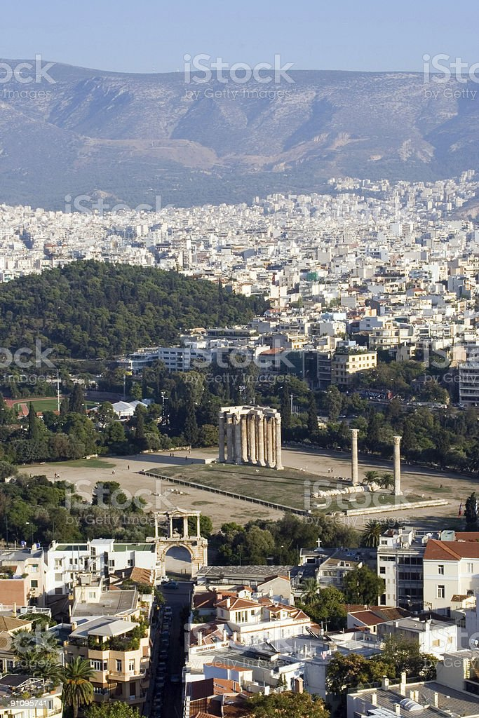 view from acropolis columns zeus temple athens greece royalty-free stock photo