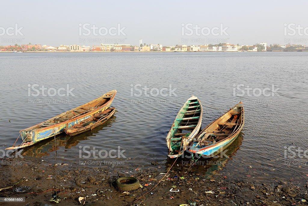 View from across the river.s Grand Bras-Large Branch. Saint-Louis-du-Senegal. 3062 stock photo
