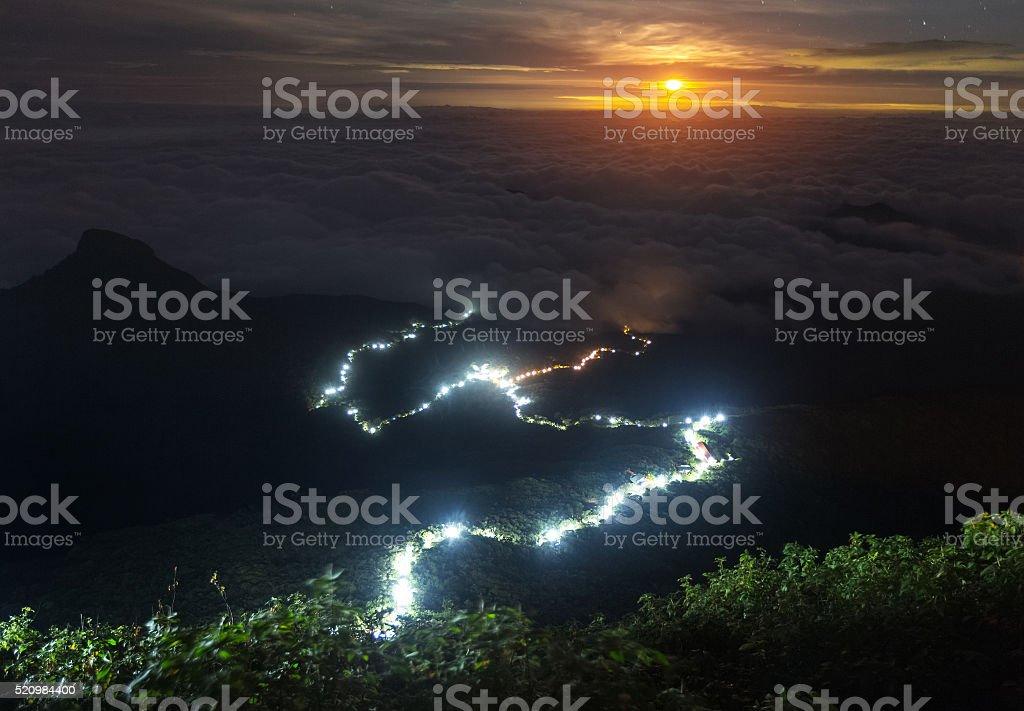 View from Adam's Peak at night stock photo