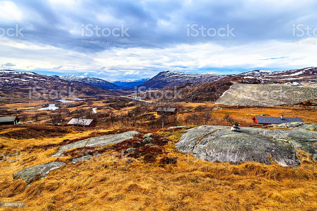 View from afar on houses and mountain stock photo