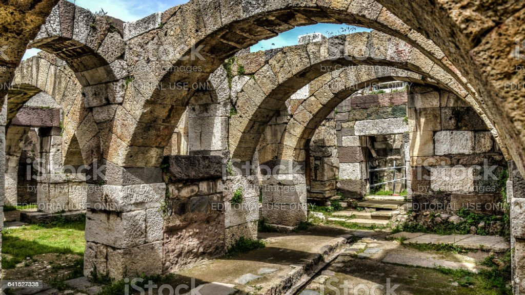 İzmir, Turkey - March 31, 2013: View from Agora open air museum of Smyrna stock photo