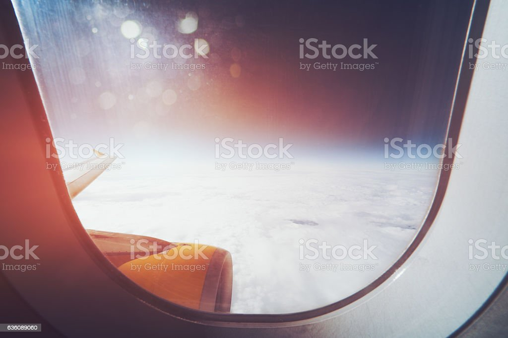 View from aircraft window stock photo