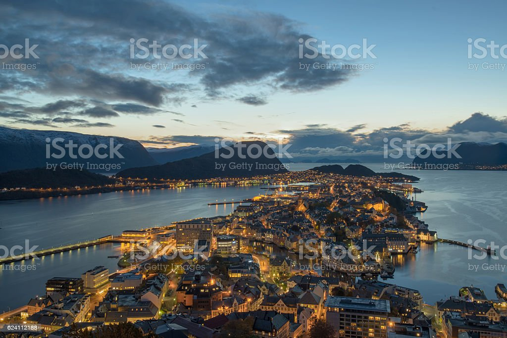 View from aksla hill on Alesund, Norway, at dusk stock photo