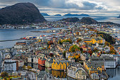 View from aksla hill on Alesund, Norway, at dusk